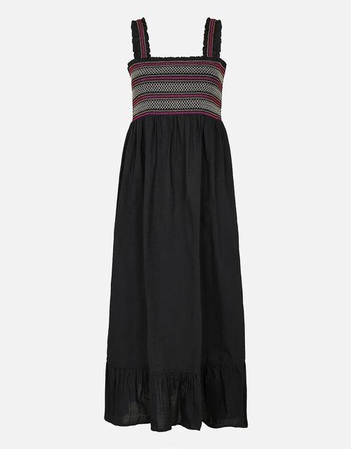 Smocked Midi Dress, Black (BLACK), large
