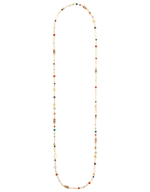 Extra Long Bead and Disc Rope Necklace, , large