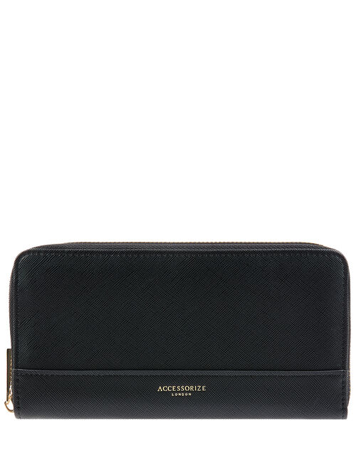 Large Reptile Wallet, Black (BLACK), large