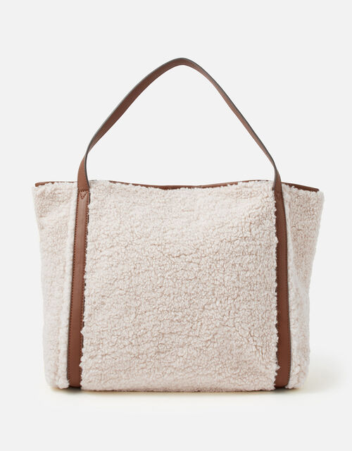 Faux Shearling Slouch Bag, , large