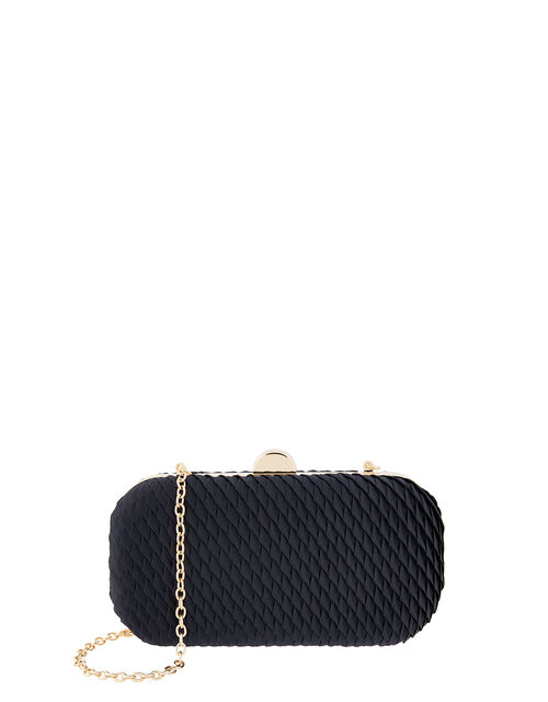 Bella Pleated Hardcase Clutch Bag, Blue (NAVY), large