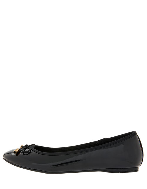 Patent Ballerina Flat Shoes, Black (BLACK), large