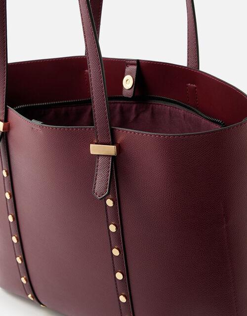Ali Studded Tote Bag , Red (BURGUNDY), large
