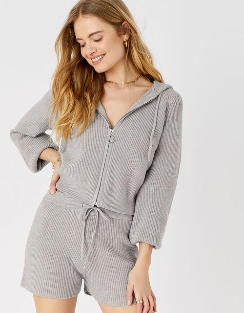 Knit Rib Lounge Shorts, Grey (LIGHT GREY), large