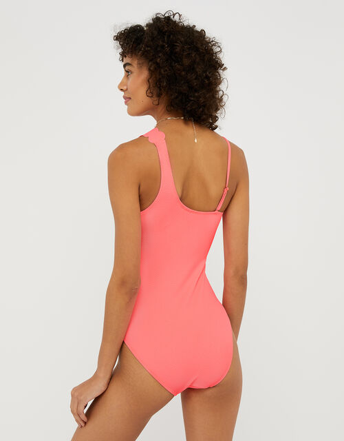Micro Dot One-Shoulder Swimsuit with Scalloped Edge, Orange (CORAL), large