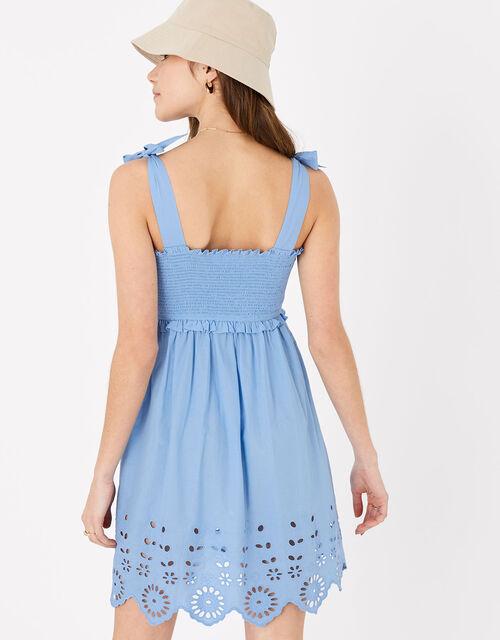 Broderie Hem Bandeau Dress, Blue (BLUE), large