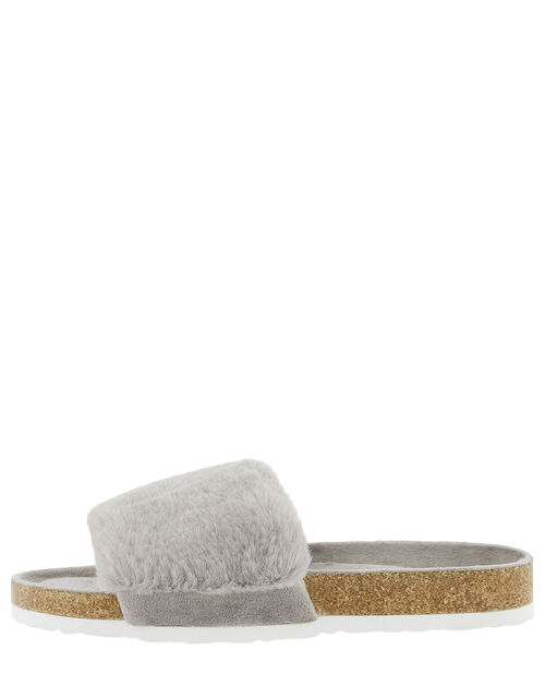 Fluffy Slider with Cork Base, Grey (GREY), large