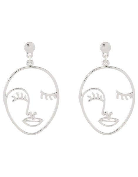 Silver Face Earrings, , large