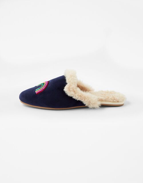 Sequin Rainbow Mule Slippers, Blue (NAVY), large