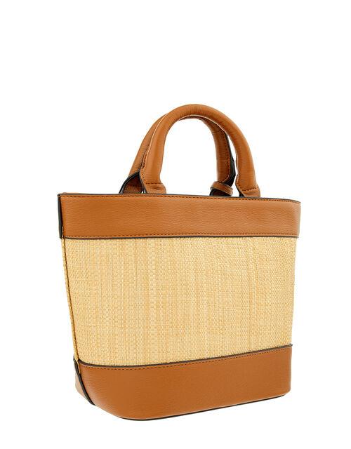 Raffia Stripe Shopper Bag, Tan (TAN), large