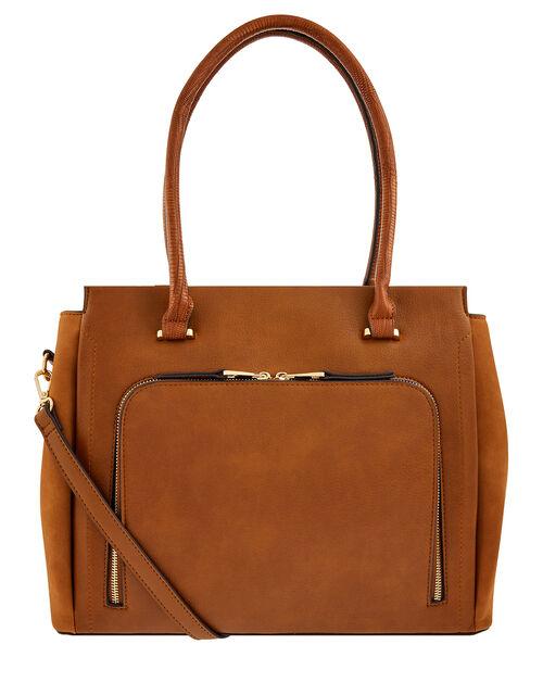 Morgan Vegan Work Tote Bag, Tan (TAN), large