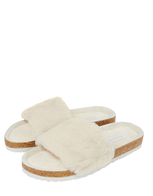 Faux Fur Sliders, Cream (CREAM), large