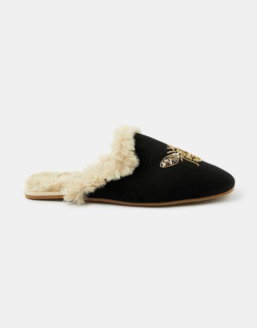 Embellished Bee Mule Slippers, Black (BLACK), large