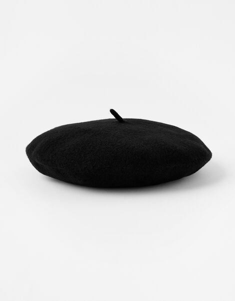 Beret Hat in Pure Wool Black, Black (BLACK), large
