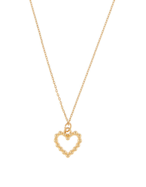 Studded Heart Pendant Necklace, , large