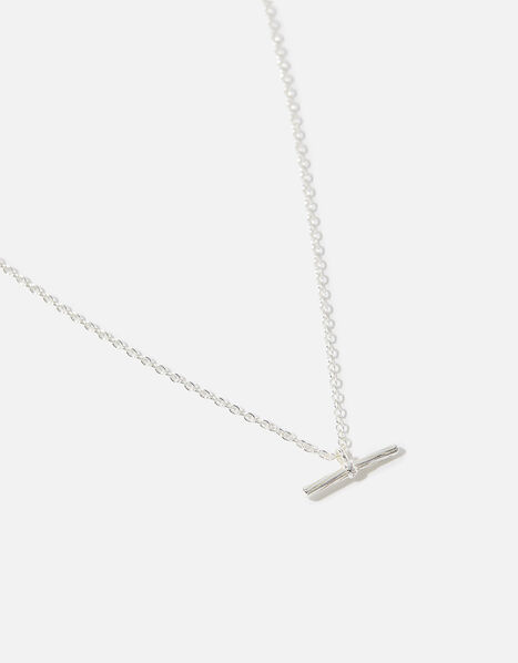 Sterling Silver T-Bar Pendant Necklace, , large