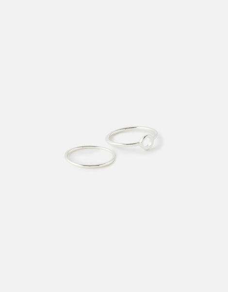 Sparkle Stacking Ring Set Silver, Silver (SILVER), large
