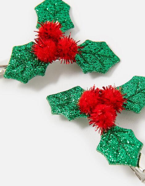 Festive Holly Hair Clips, , large