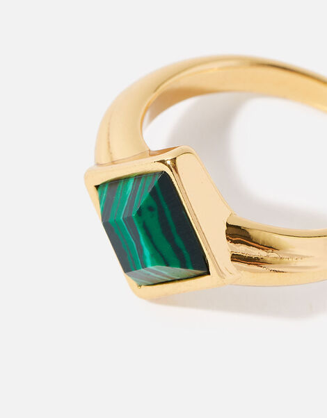 Gold-Plated Malachite Ring Gold, Gold (GOLD), large