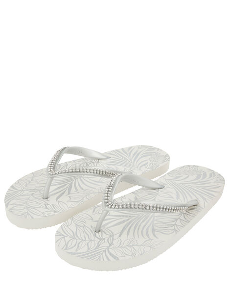 Silver Diamante Flip Flops Silver, Silver (SILVER), large