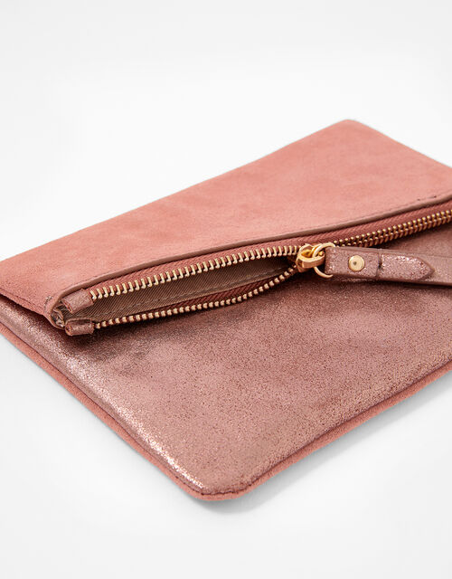 Foldover Leather and Suede Pouch Bag, , large