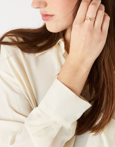 Pearl and Crystal Ring Set Cream, Cream (PEARL), large