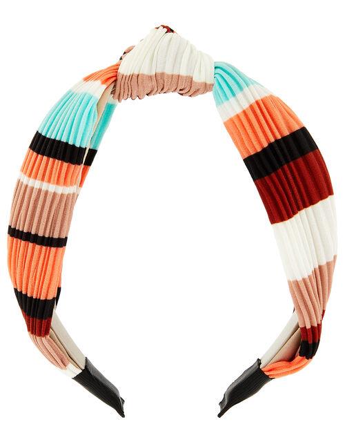 Colourful Pleated Knot Headband, , large