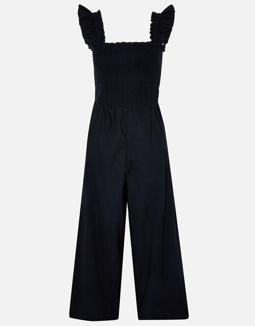 Ruffle Strap Smocked Jumpsuit, Black (BLACK), large