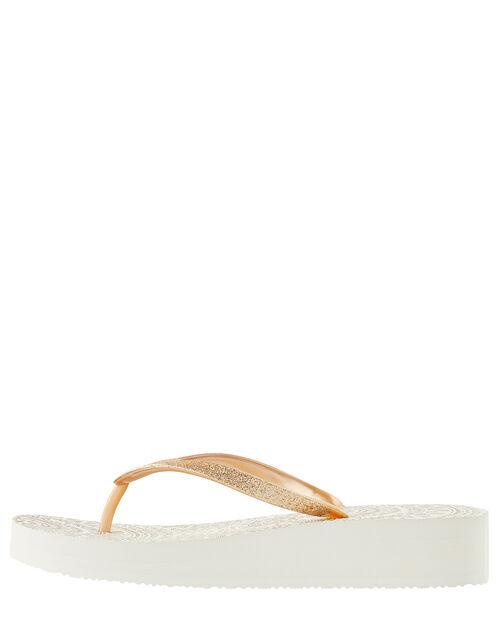 Eva Gold Wedge Flip Flops, Gold (GOLD), large
