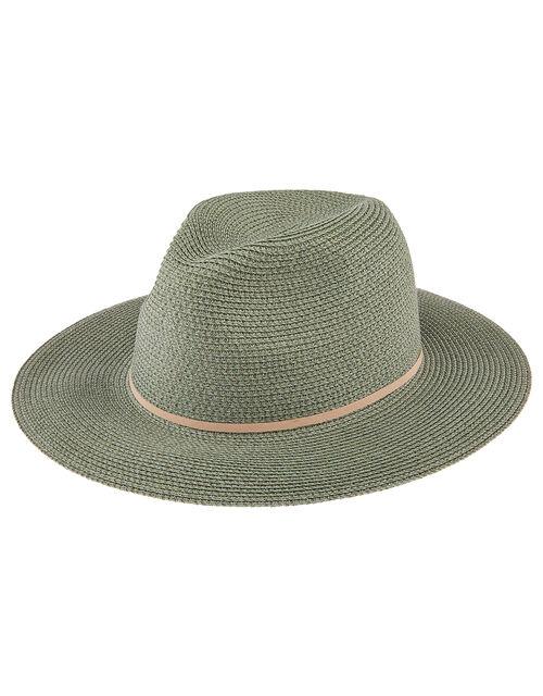 Straw Panama Hat, Green (KHAKI), large
