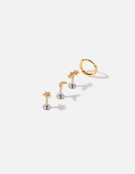 Gold-Plated Celestial Stud and Hoop Set, , large