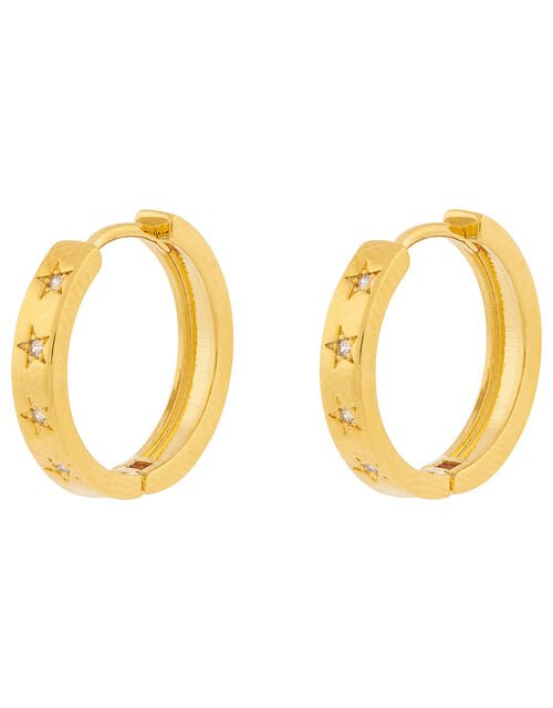 Gold-Plated Sparkle Star Chunky Hoops, , large