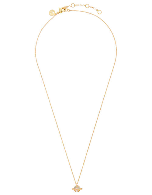 Gold-Plated Necklace with Sparkle Planet Pendant, , large