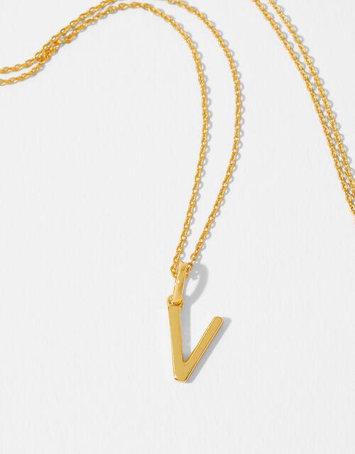 Gold Vermeil Initial Pendant Necklace - V, , large