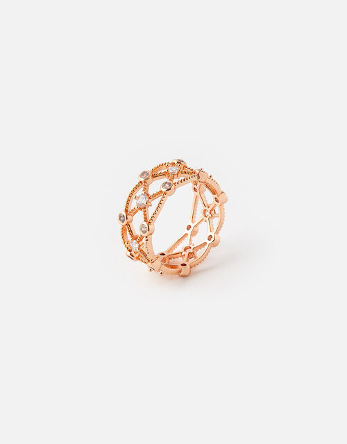 Rose Gold-Plated Sparkle Cut-Out Ring, Gold (ROSE GOLD), large