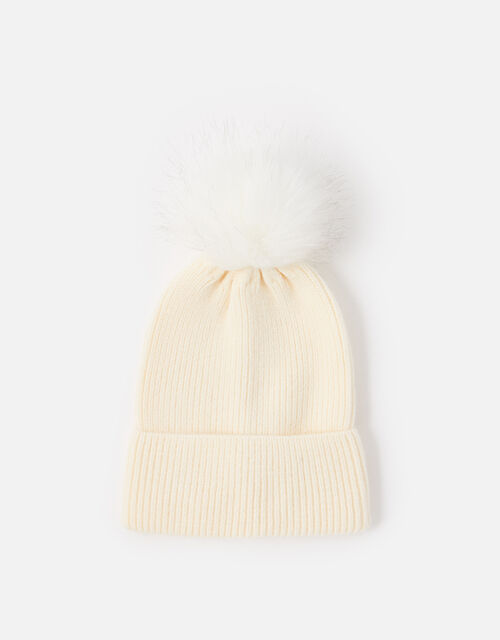 Knit Pom-Pom Beanie with Recycled Fabric, Natural (NATURAL), large