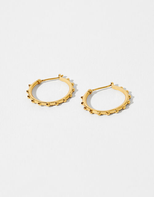 Gold-Plated Station Bead Hoops, , large