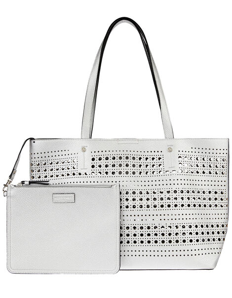 Perforated Shopper with Detachable Zip Pouch Silver, Silver (SILVER), large