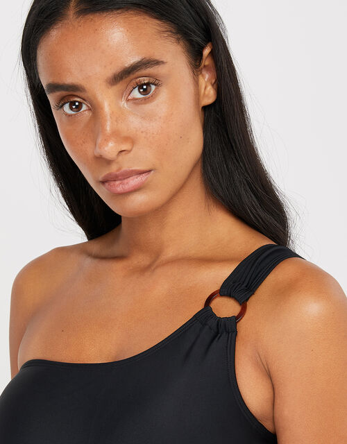 One-Shoulder Swimsuit, Black (BLACK), large