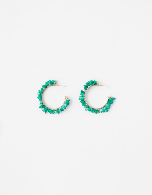 Turquoise Chipping Hoop Earrings, , large