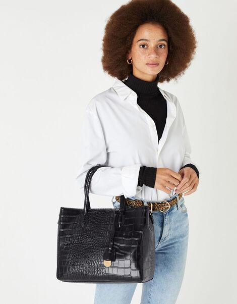 Gemma Croc Bag Black, Black (BLACK), large