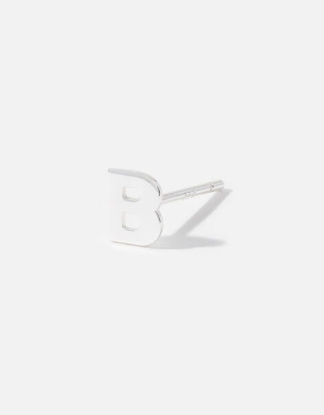 Sterling Silver Single Initial Stud Earring Silver, Silver (ST SILVER), large