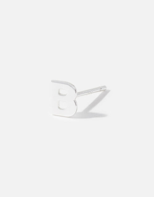 Sterling Silver Single Initial Stud Earring, Silver (ST SILVER), large