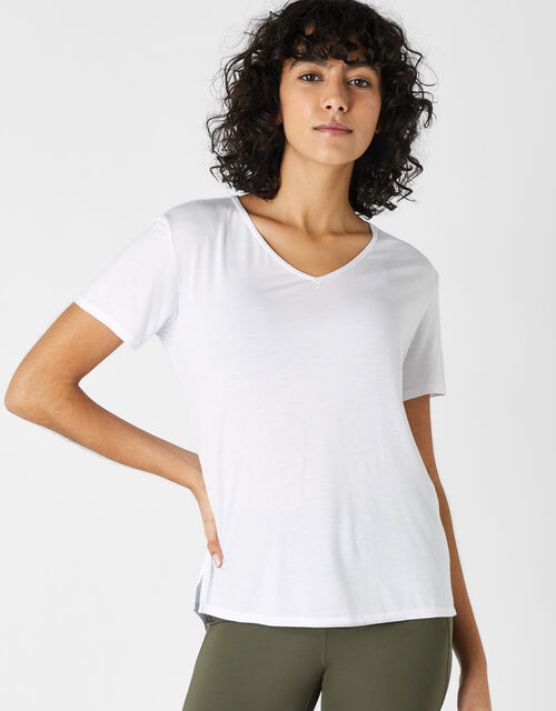 Plain V-Neck T-Shirt, White (WHITE), large