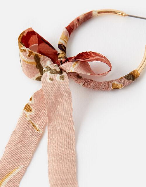 Fabric Bow Hoop Earrings, , large