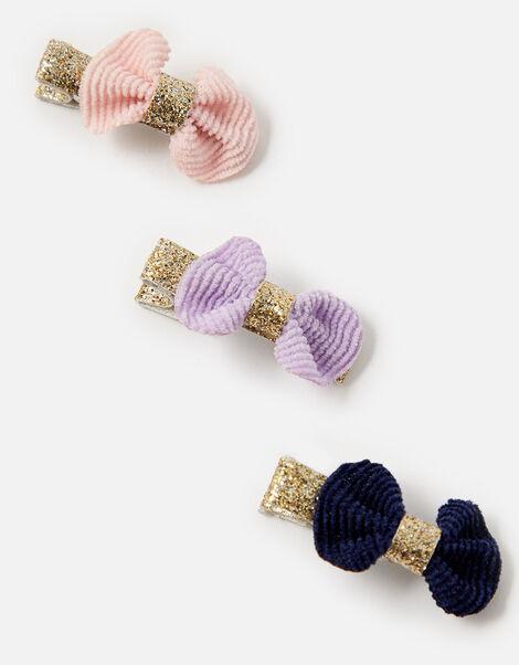 Mini Bow Glitter Hair Clip Set, , large