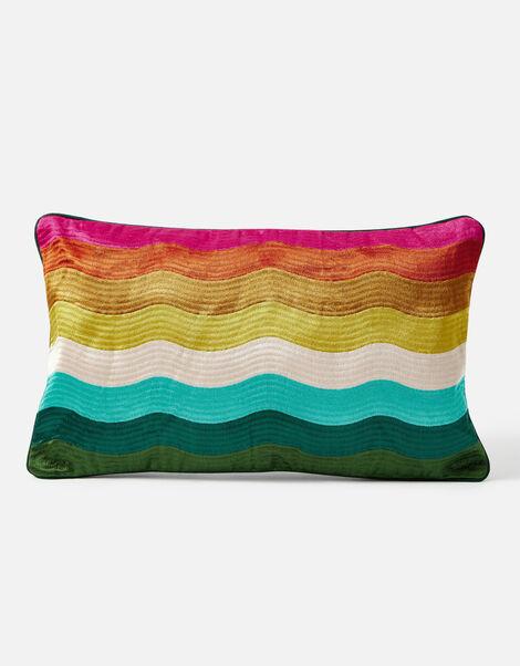 Rainbow Wave Embroidered Rectangle Cushion, , large