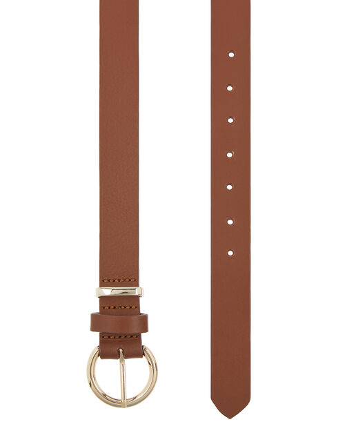 Round Buckle Leather Belt, Tan (TAN), large