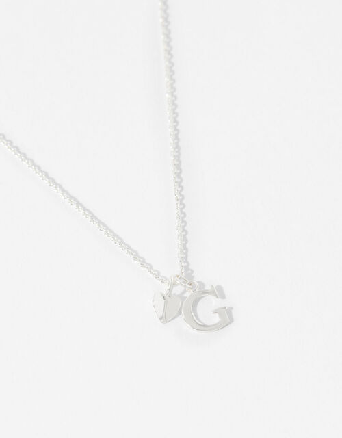 Sterling Silver Heart Initial Necklace - G, , large
