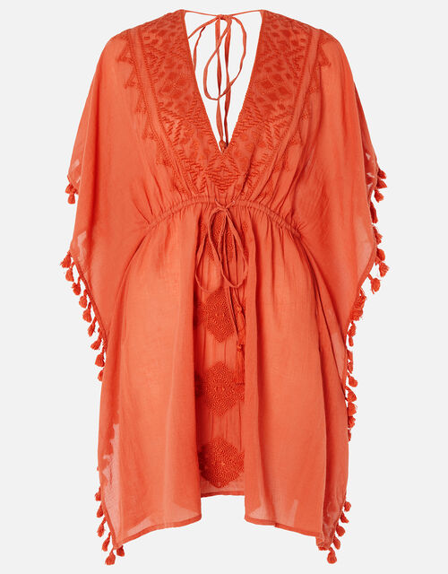 Becci Embroidered Kaftan, Orange (RUST), large